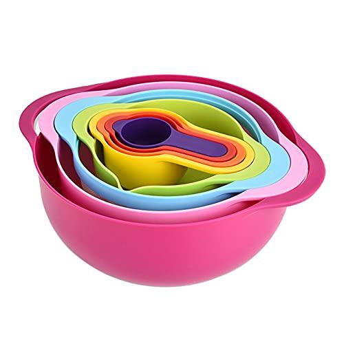 UNIhappy Juego de 8 cuencos de mezcla apilables con diseño de arco iris