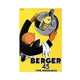 Classic Vintage Berger 45 Francia Publicidad Vino Viejo Alcool Pastis Lienzo Póster Decoración de Dormitorio Arte Pop Decoración de la Oficina Regalo Unframe: 60 × 90 cm