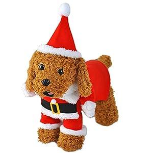 LAWOHO pour Animal Domestique Costume de Costumes Chien Noël Cap Père Noël Vêtements Chien Capuche Chat Noël Costumes Chiot Chaton Chats Chiens Animaux de Compagnie