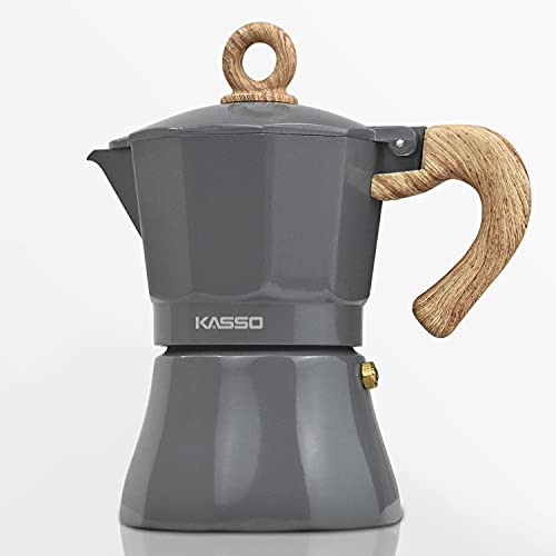 KASSO Stovetop Espresso Maker, Aluminum 3 Cup Express Moka Pot Coffee Maker for Italian Espresso and Greca Coffee, Easy to Operate and Quick Cleanup, for Home and Camping, Grey and Burlywood