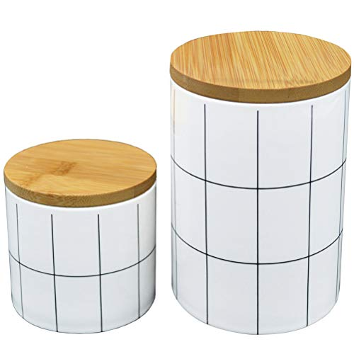 2 Pack White Ceramic Storage Jars(14oz+24oz), Kitchen Food Container with Airtight Seal Bamboo Lid, Porcelain Canister for Cookies, Coffee, Tea, Nuts And More