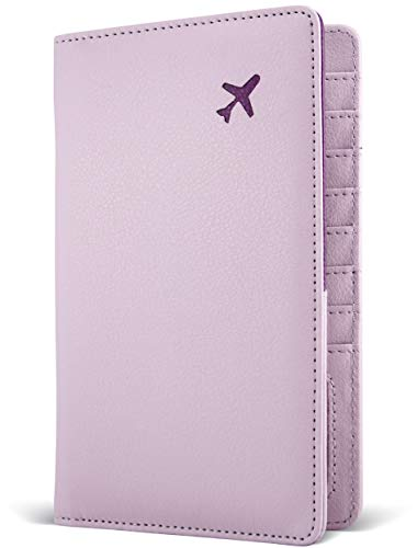 Passport Holder by POCKT - RFID Blocking Travel Wallet for Safe Trip, Document Organizer + Gift Box | Lavender