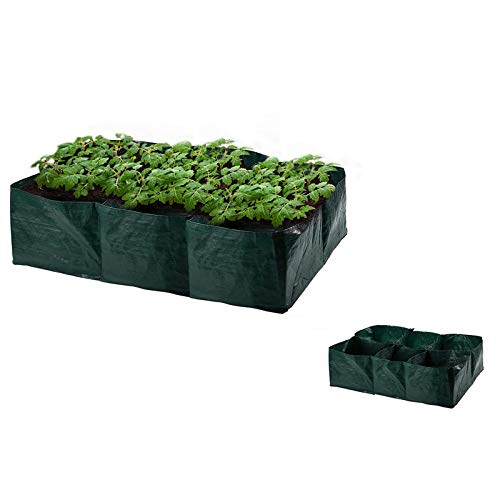 Raised Garden Planter Fabric Bed,6 Divided Grids Durable Rectangle Container 35 Gallon Planting Grow...