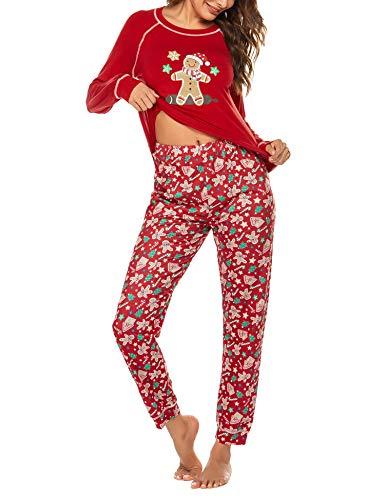 Schlafanzug Frauen Pyjama Damen Winter Langarm Set Zweiteilige Nachthemd Weihnacht Lang Sleepwear und Schlafhose Rot M