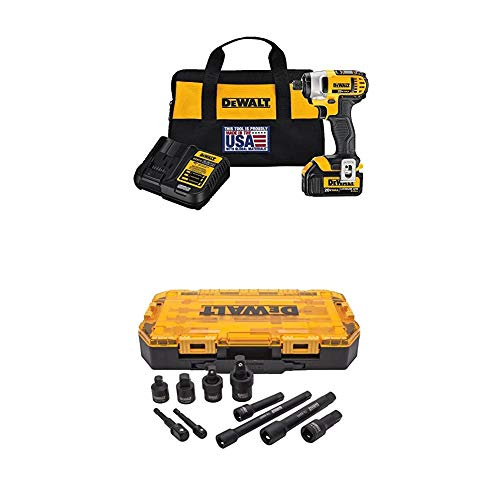 DEWALT 20V MAX Impact Driver Kit with 1 Battery and Impact Driver Socket Adapter Set, 10-Piece 3/8' & 1/2' Drive Metric