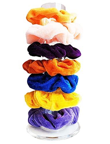 Soporte acrílico para coleteros, lazos para el cabello banda para el cabello pinzas para el cabello pulsera diadema organizador soporte cilíndrico para adolescentes niñas mujeres regalos