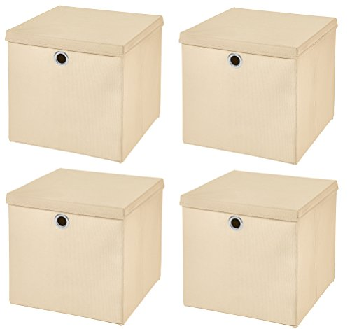 Stick&Shine 4X Aufbewahrungs Korb Creme Faltbox 33 x 33 x 33 cm Regalkorb faltbar mit Deckel