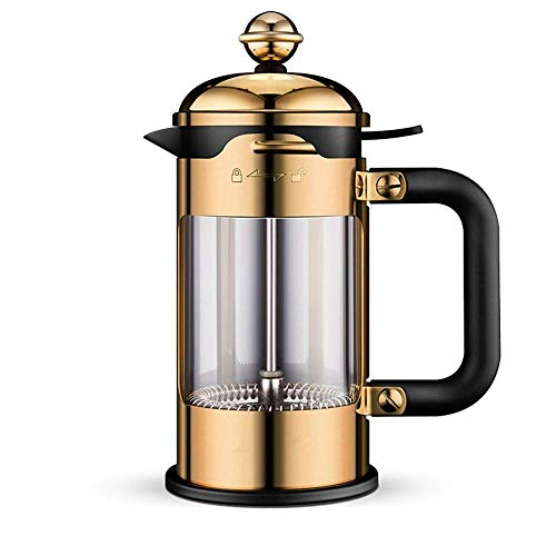 ZGQA-GQA Café Press Acero Inoxidable 304 Prensa Pot Manual té cafetera de Filtro Prensa de Calor del Filtro de Cristal Copa Cafetera (Color: Oro, Tamaño: 350 ml)