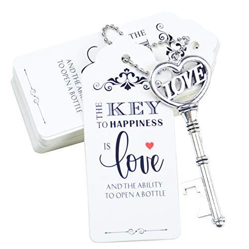 Aokbean 52 stks Hartvorm met LOVE Vintage Skelet Sleutel flesopener Bruilofts Gunsten Gast Souvenir Cadeauset met…