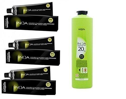 L'Oreal Paris Professional Inoa Hair Colour Tubes-3 Tubes with Developer(6%), 1000ml (Black, 1)