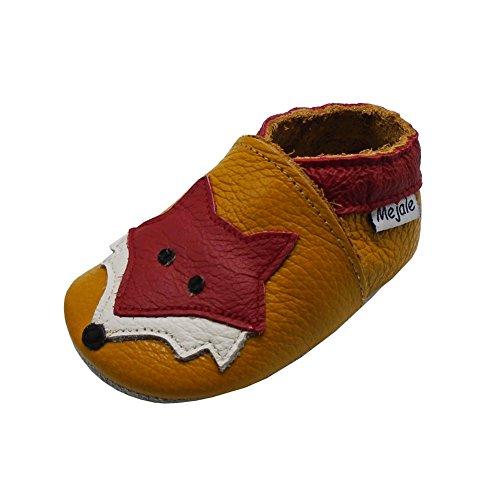 Mejale Weiche Sohle Leder Babyschuhe Lauflernschuhe Krabbelschuhe Kleinkind Kinderschuhe Hausschuhe Karikatur Fuchs(12-18 Monate, braun, L)