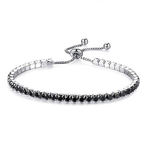 HJPAM vrouwen mode verstelbare tennis armband, glanzend kristal zilver gekleurde ketting armband en armband sieraden cadeau