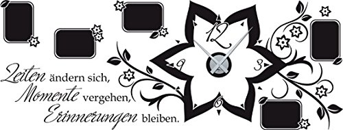 GrazDesign 800580 Muurtattoo fotolijstje klok voor de woonkamer wandklok Tijden veranderen van de klok Uhrwerk silber 070, zwart