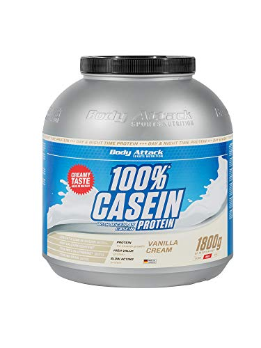 Body Attack 100{8f53f761f75f884f95d784f4cdb345ec6ffd2b2fea0f3378a2567d835aef113a} Casein Protein, reich an essentiellen Aminosäuren - Muskelaufbau und Erhalt, Low Carb - für Sportler, Athleten & Figurbewusste - Vanilla Cream, 1,8 kg Eiweißpulver