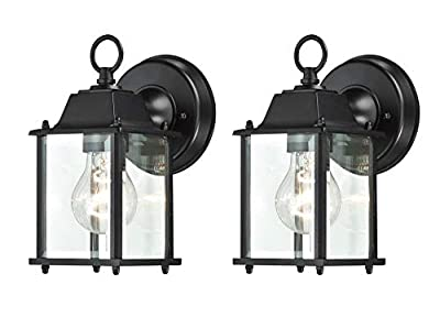 WISBEAM Small Outdoor Wall Lantern, Wall Sconce as Porch Lighting Fixture, E26 Base 100W Max, Aluminum Housing Plus Glass, Wet Location Rated, ETL Qualified, 2-Pack