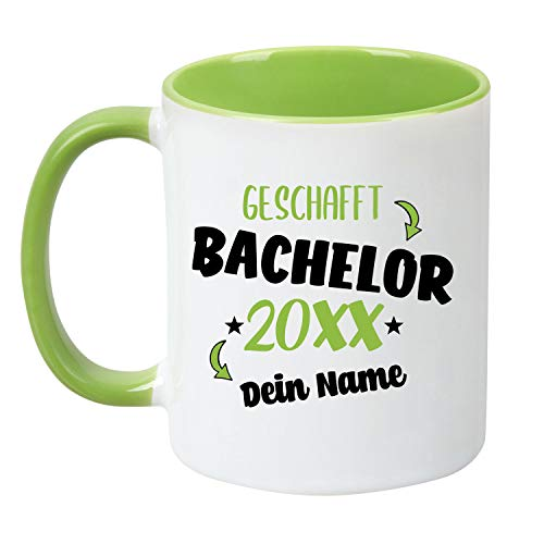 TassenTicker - Tasse zum Bachelor 20XX - Personalisiert - Prüfung bestanden - Abschlussfeier - Geschenkidee - Grün