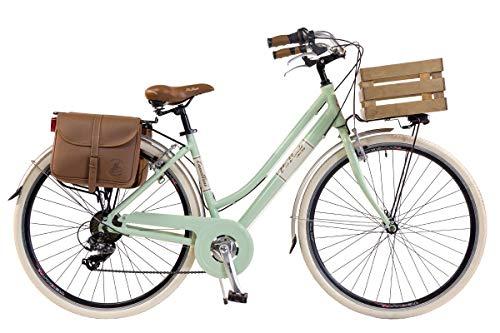 Via Veneto by Canellini Damen Citybike CTB Vintage Rad Cityrad Fahrrader Bike Aluminium mit Korb Kassette und Klingel Via Veneto Bell Ring (50, Hellgrun)