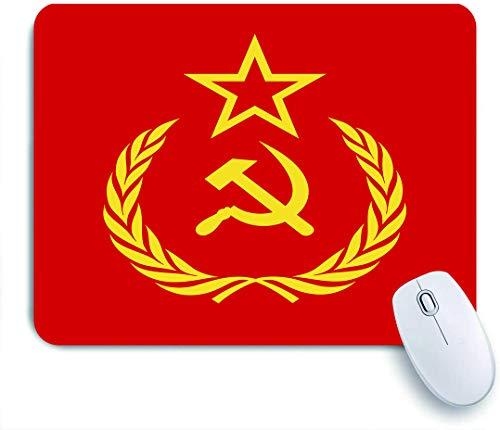 COFEIYISI Icono del Comunismo de la URSS con el Martillo y la Hoz soviética y Ramas con Hojas Estrella roja Bandera de la Unión,Alfombrilla Raton Alfombrilla Gaming Alfombrilla
