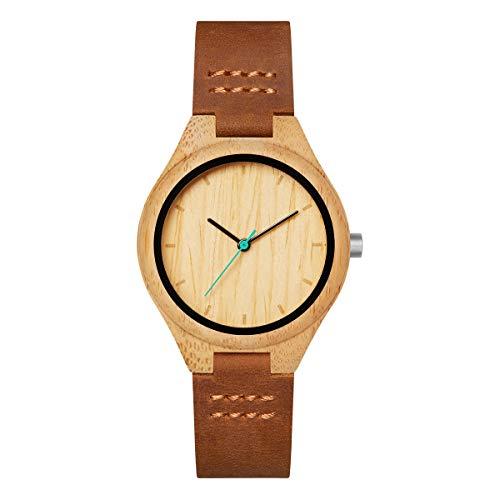Mam relojes histo Damen Uhr analog Japanisches Quarzwerk mit Leder Armband 602