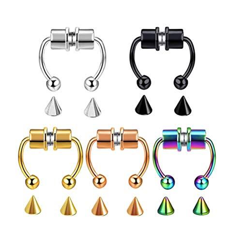 Piercing para la nariz, diseño de herradura, magnético, reutilizable, de aleación, 5 unidades