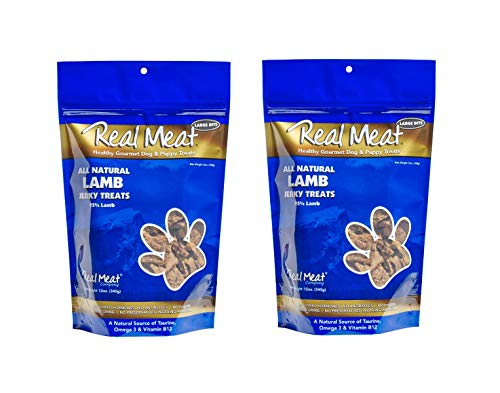 THE REAL MEAT COMPANY 828010 Dog Jerky Lamb Treat, 12-Ounce pack of 2