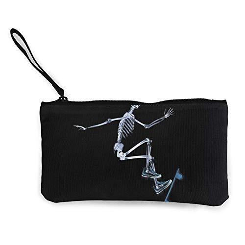 Geldbörse mit Totenkopf-Motiv, Skateboard, Bass, Angeln, Segeltuch, Münzgeld, Reißverschluss, Handgelenke, Geldbörse, Make-up-Taschen für Frauen und Mädchen
