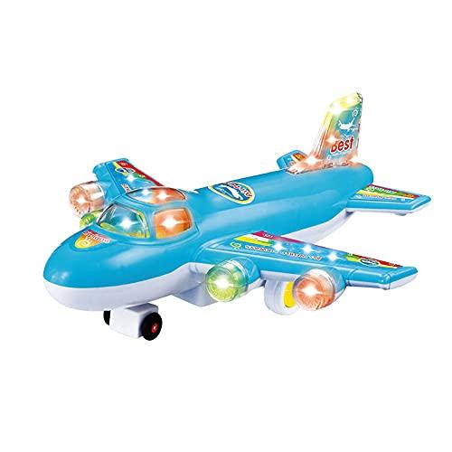ZDYHBFE Avión de simulación eléctrica Avión de pasajeros Ligero y Musical Universal Walking Aviation Model Boy Girl Toy Cambiar Colores con música Regalos para niños Mayores de Tres años