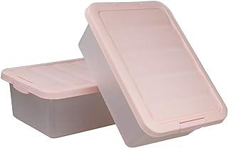 Ucake Grande Conteneur Caisse Caisses Boite de Rangement Panier avec Couvercle Plastique, Rose, Paquet de 2