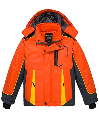 Wantdo Boy's Waterproof Skiing Jacket Winter Puffer Coat Hooded Raincoat Orange 10/12