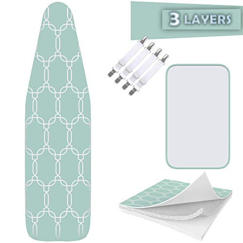 "Balffor Ironing Board Cover and Pad Standard Size Silicone Coated - Scorch Proof TriFusion Iron Board Cover (White & Green) with Bonus Adjustable Fasteners and Protective Mesh 15"" X 54"""