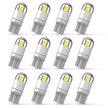 WEIMELTOY 194 Led Car Bulb 3030 Chipset 2SMD T10 194 168 W5W Led Wedge Light Bulb 1.5W 12V License Plate Courtesy Step Map Lights Trunk Lamp Clearance Lights  12pcs