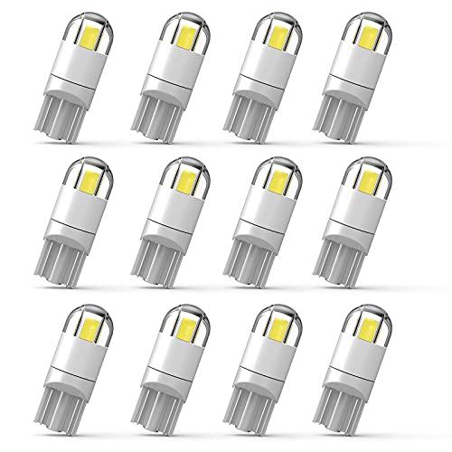 WEIMELTOY 194 Led Car Bulb 3030 Chipset 2SMD T10 194 168 W5W Led Wedge Light Bulb 1.5W 12V License Plate Courtesy Step Map Lights Trunk Lamp Clearance Lights (12pcs)
