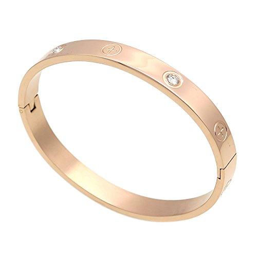 Lusso placcato oro-in acciaio INOX con pietra di zirconia cubica Simple Style Love braccialetto per donne uomini e Acciaio inossidabile, colore: Rose in Size 16, cod. XS02