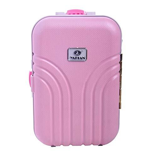 Doll Trolley Case Baby Suitcase Toy Plastic Rolling Suitcase Mini Luggage Box Miniature Furniture Doll Accessories