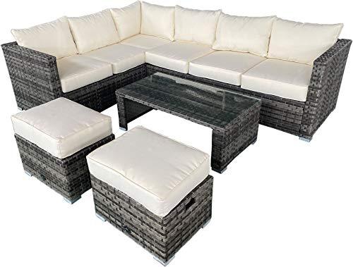 AVANTI TRENDSTORE - Lunata - Set di mobili Lounge da Giardino, Composto da 1 Divano ad Angolo, 2 sgabelli e 1 tavolino, in Rattan Sintetico Grigio e Vetro Trasparente, con i Cuscini Beige Inclusi.