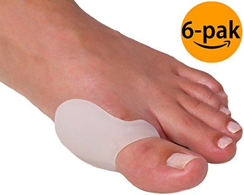 NatraCure Gel Großer Zehe Hallux Valgus Garde im 6 Pack – BPA Frei – hochwertiger Ballenschutz, Zehenschutz, Zehenteiler & Zehentrenner für Damen & Herren – Zehenspanner & Zehen-Korrektur