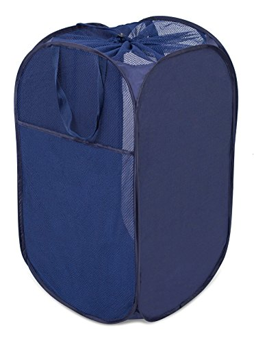Internet's Best Square Pop Up Laundry Hamper - Collapsible Laundry Bag with Mesh Drawstring Lid - Carry Handles - Dirty Laundry Sorter Basket - Blue