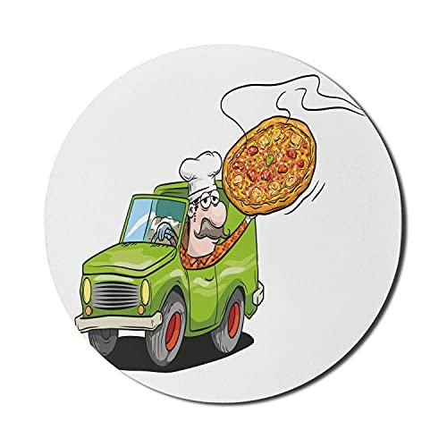Pizza Mouse Pad für Computer, humorvolles Cartoon-Bild des Mannes im Auto mit Schnurrbart und Kochmütze liefern Lebensmittel, rundes rutschfestes dickes Gummi-modernes Gaming-Mousepad, 8 'rund, mehrfa