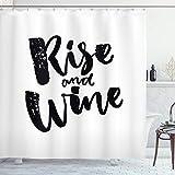 ABAKUHAUS lustige Wörter Duschvorhang, Rise & Wine Zitat, Waserdichter Stoff mit 12 Haken Set Dekorativer Farbfest Bakterie Resistet, 175 x 200 cm, Schwarz-weiß
