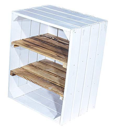 Vintage-Möbel24 2er Set weiße Obstkisten mit geflammten Zwischenbrett quer – Holzkisten als Schuhregal – Shabby Chic - 50x30x40cm