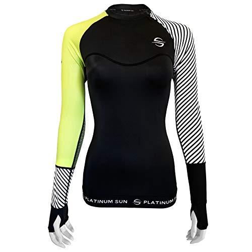 Women's Rash Guard Swim Shirt Long Sleeve Swimsuit Top Bathing Swimming Shirts - Sun Protection Clothing UPF 50 (Green-Stripes, S)