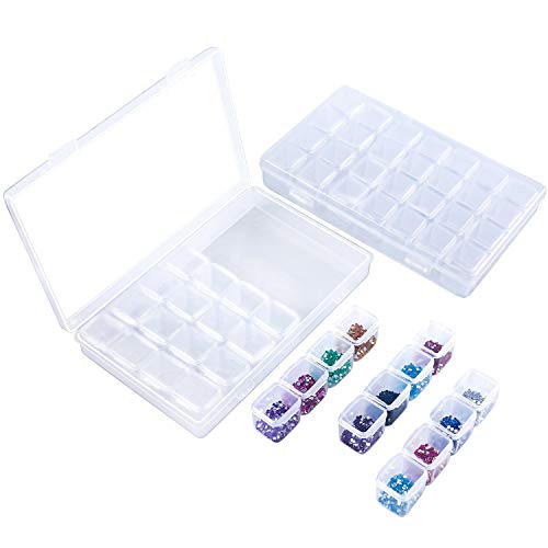 2 Pack 28 Slots Plastik Perlenbox Sortierbox Sortierkasten Diamond Stickerei Box Diamant Malerei Nagel Strass Schmuck DIY Kunst Handwerk Pille Storage Organizer Schmuckschatulle Werkzeugcontainer