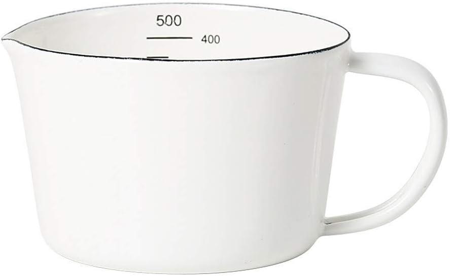 Taza medidora de Esmalte para hervidor con Boquilla de Escala Utensilios de Cocina Vintage Jarra medidora Medida de Cocina Utensilios de Cocina para Hornear 500 ml/1000 ml(Color:Blanco,Tamañ