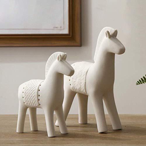 Escultura LONGWDS Escultura Moderna Minimalista de Moda Escultura de cerámica Adornos Mesa del Potro del Arte Creativo decoración TV del gabinete gabinete del Vino Adornos