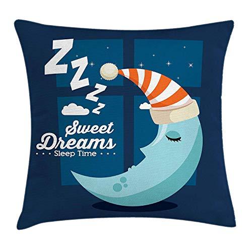 Sweet Dreams Kussen Kussensloop, Slaaptijd Slaapkamer Raam Backdrop met Maan in een Hoed in Starry Night Sky, Decoratieve Vierkante Accent Kussensloop, Multi kleuren