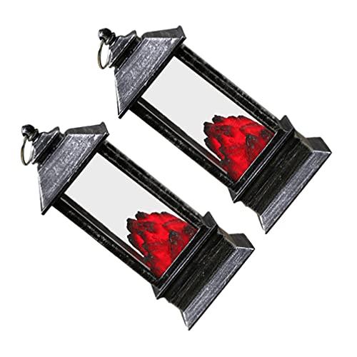 Toddmomy 2 Piezas de Lámpara Colgante de Halloween Simulación de Carbón de Leña de Plata Chimenea de Estilo Vintage Linterna Decorativa Adornos de Luz Electrónica (con Pilas de 3 Botones)