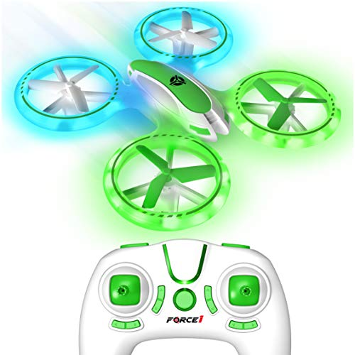 Force1 UFO 3000 LED Mini Drone for Kids - Remote Control Drone, Small RC Quadcopter for Beginners with LEDs, 4-Channel Remote Control, 2 Speeds, and 2 Drone Batteries