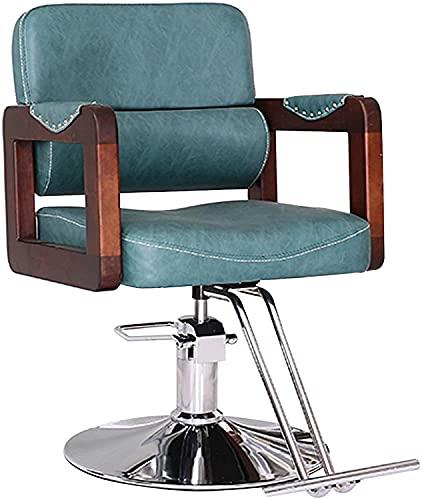 Silla de peluquería, silla de peinado de pelo hidráulico 360 ° Altura giratoria Ajustable Silla de peluquería de servicio pesado, azul vintage (Color : Vintage blue)