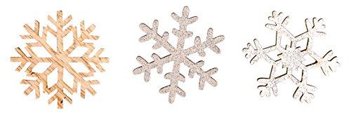 Rayher 46268000 Holz-Streuteile Schneeflocken, Stärke 4 mm, 3 verschiedene Motive, Holzstreuteile, Tischstreuer, Tischdeko, Streudeko Weihnachten, Btl. 12 Stück, 3,8 cm Ø