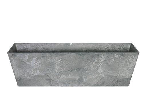 Artstone Pflanzgefäß Balkonkasten Ella, frostbeständig und leichtgewichtig, Grau, 74x17x17cm